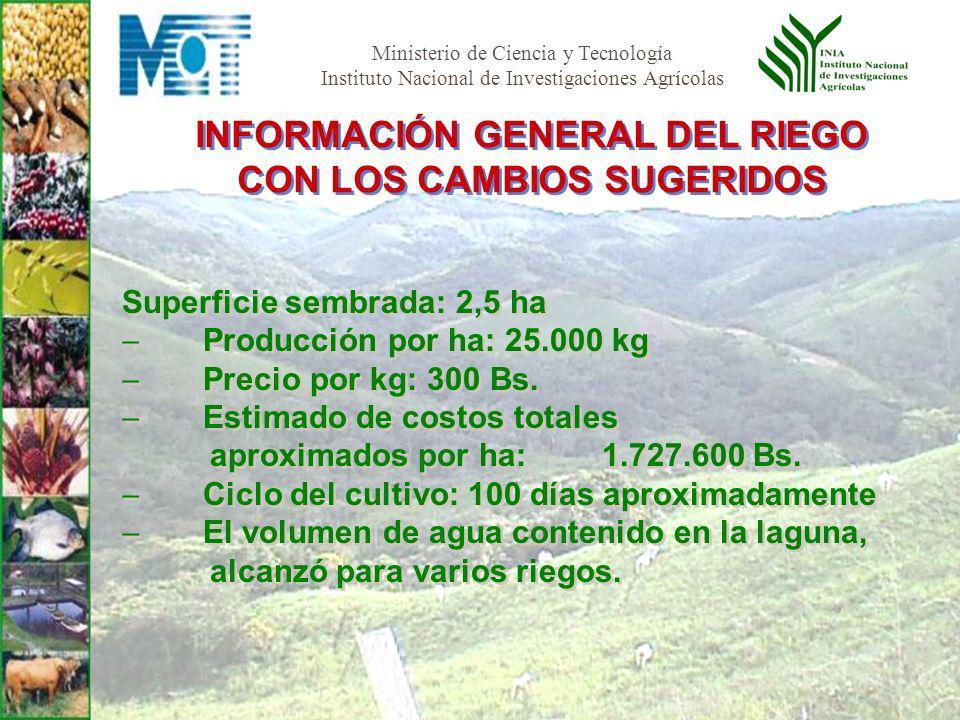 Ministerio de Ciencia y Tecnología Instituto Nacional de Investigaciones Agrícolas Superficie sembrada: 2,5 ha Producción por ha: 25.000 kg Precio por kg: 300 Bs.