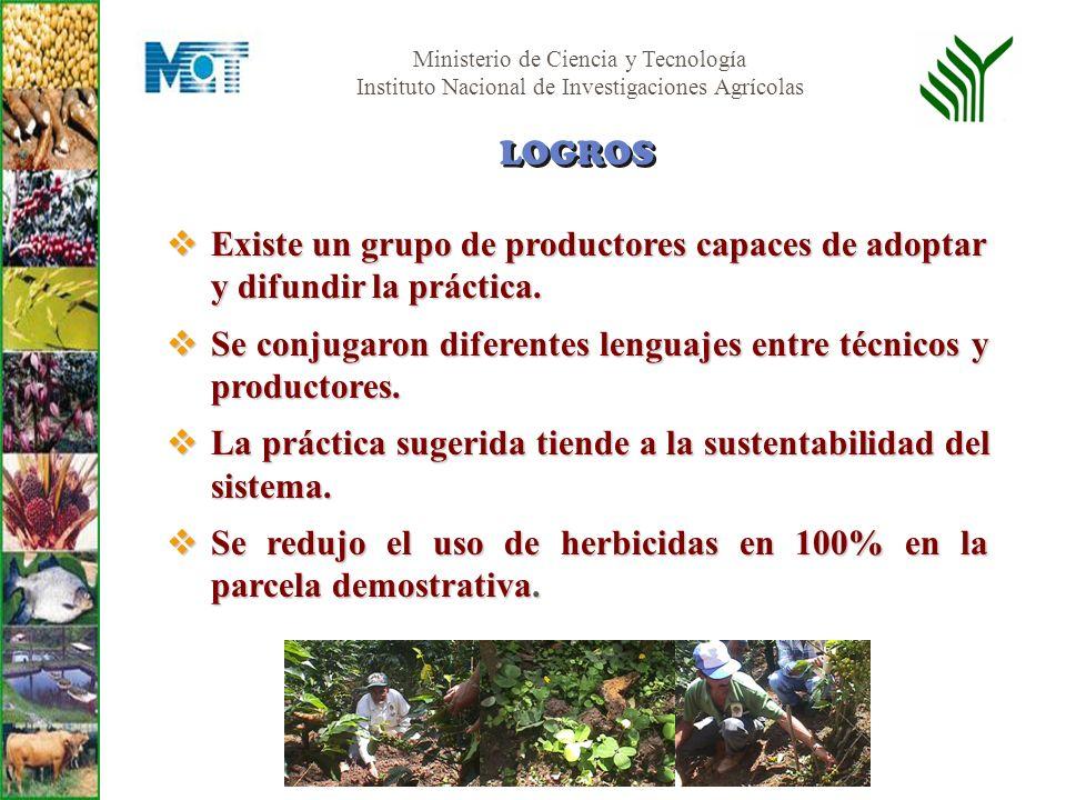 Ministerio de Ciencia y Tecnología Instituto Nacional de Investigaciones Agrícolas Existe un grupo de productores capaces de adoptar y difundir la prá