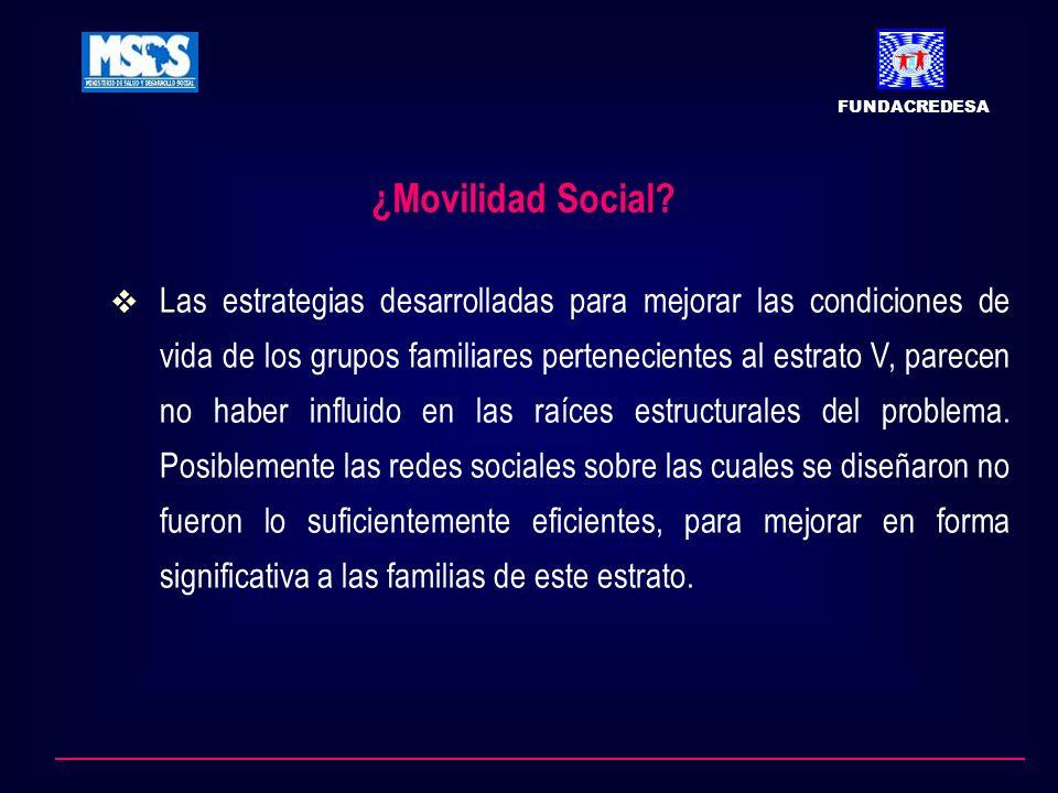 ¿Movilidad Social? Las estrategias desarrolladas para mejorar las condiciones de vida de los grupos familiares pertenecientes al estrato V, parecen no
