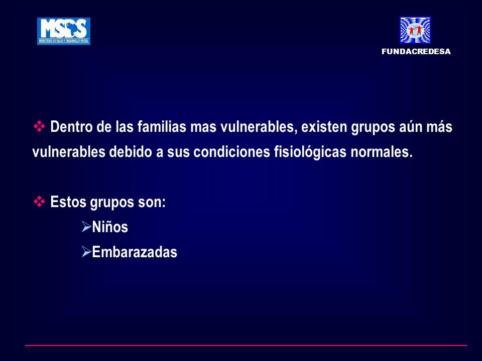 Dentro de las familias mas vulnerables, existen grupos aún más vulnerables debido a sus condiciones fisiológicas normales. Estos grupos son: Niños Emb