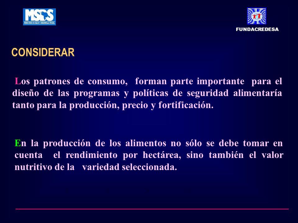 CONSIDERAR FUNDACREDESA Los patrones de consumo, forman parte importante para el diseño de las programas y políticas de seguridad alimentaría tanto para la producción, precio y fortificación.