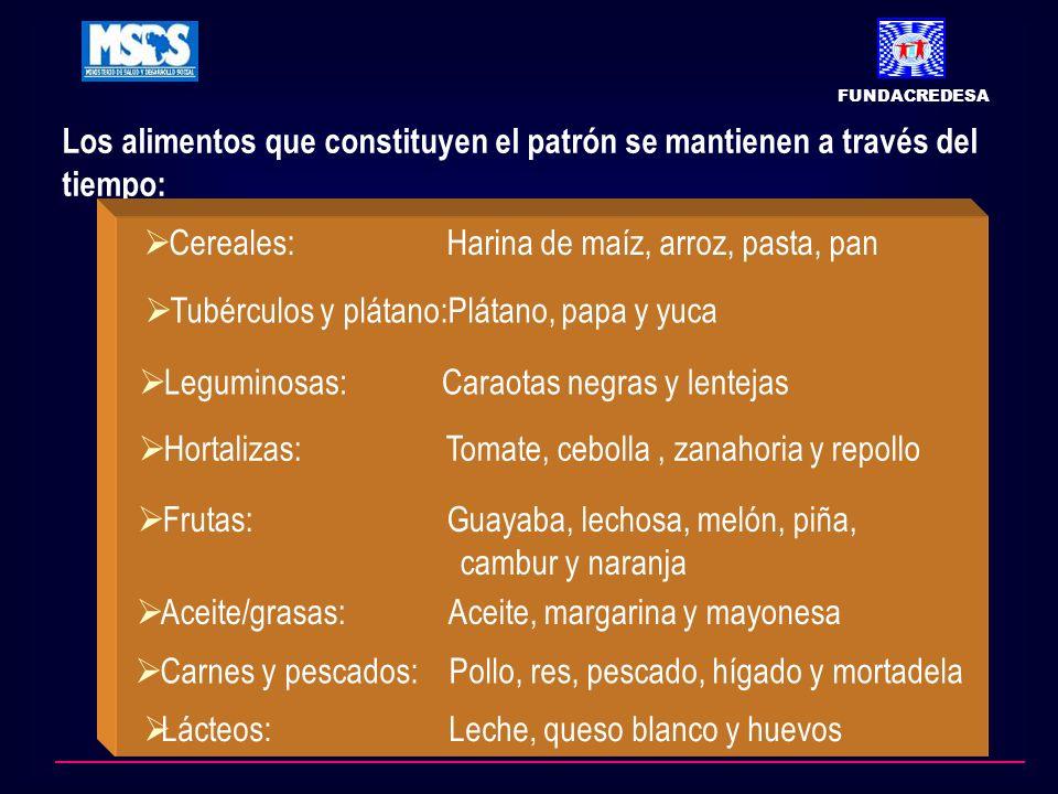 Los alimentos que constituyen el patrón se mantienen a través del tiempo: FUNDACREDESA Cereales: Harina de maíz, arroz, pasta, pan Tubérculos y plátano:Plátano, papa y yuca Leguminosas: Caraotas negras y lentejas Hortalizas: Tomate, cebolla, zanahoria y repollo Frutas: Guayaba, lechosa, melón, piña, cambur y naranja Aceite/grasas: Aceite, margarina y mayonesa Carnes y pescados: Pollo, res, pescado, hígado y mortadela Lácteos: Leche, queso blanco y huevos
