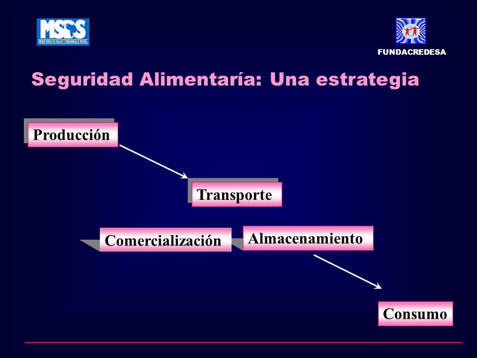 Seguridad Alimentaría: Una estrategia FUNDACREDESA Producción Transporte Almacenamiento Comercialización Consumo