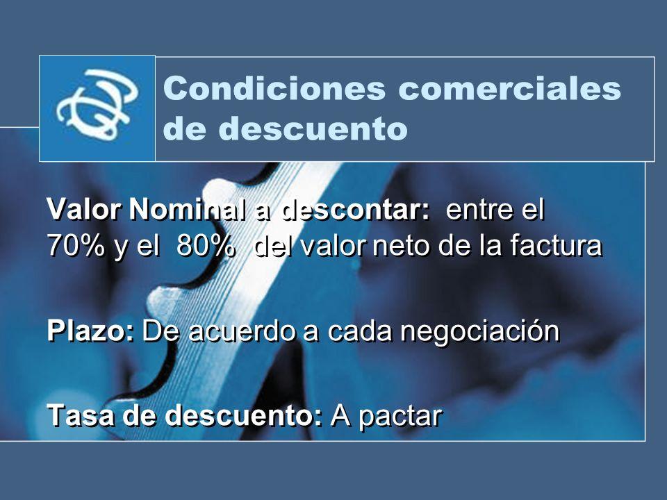 Condiciones comerciales de descuento Valor Nominal a descontar: entre el 70% y el 80% del valor neto de la factura Plazo: De acuerdo a cada negociació