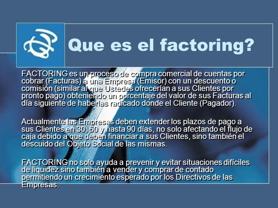 Que es el factoring? FACTORING es un proceso de compra comercial de cuentas por cobrar (Facturas) a una Empresa (Emisor) con un descuento o comisión (