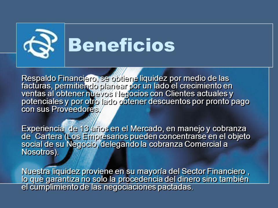 Beneficios Respaldo Financiero, se obtiene liquidez por medio de las facturas, permitiendo planear por un lado el crecimiento en ventas al obtener nue