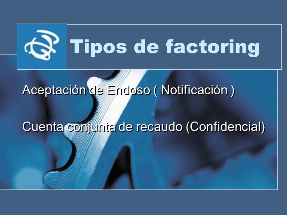 Tipos de factoring Aceptación de Endoso ( Notificación ) Cuenta conjunta de recaudo (Confidencial) Aceptación de Endoso ( Notificación ) Cuenta conjun