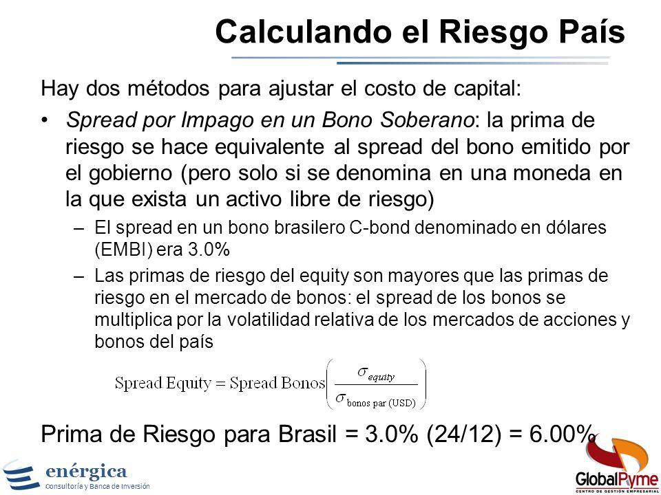 enérgica Consultoría y Banca de Inversión A pesar de que hay varias medidas de riesgo país, una de las mas simples y accesibles es la calificación asi