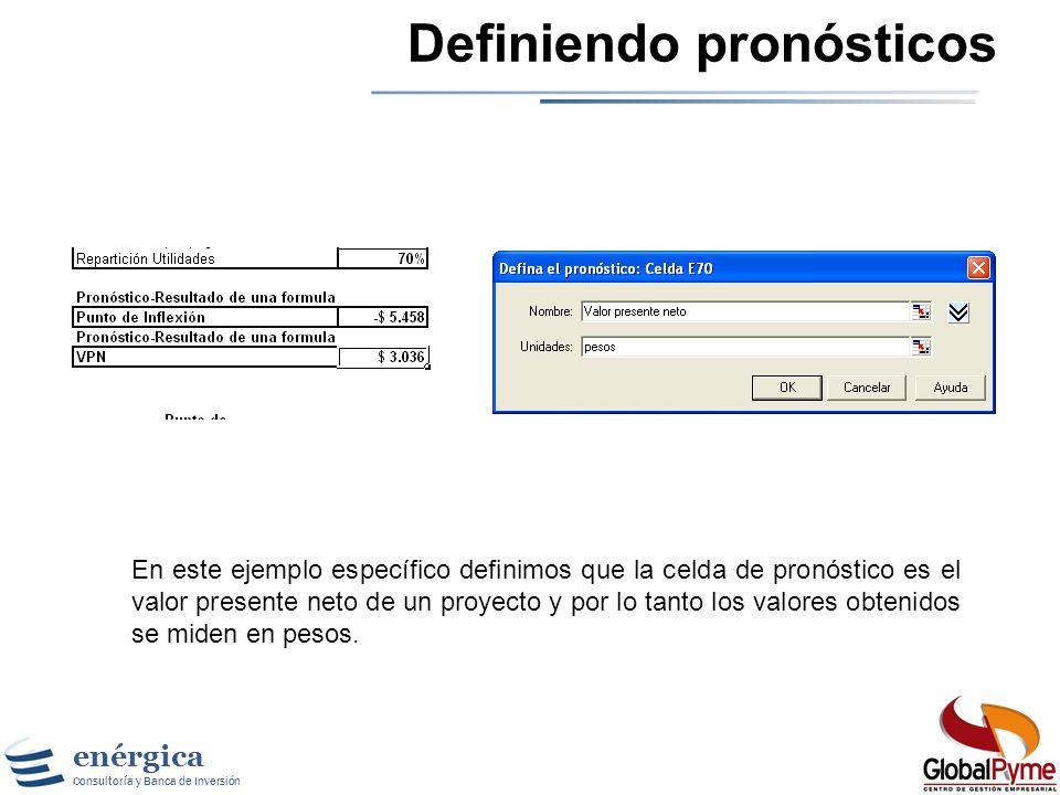 enérgica Consultoría y Banca de Inversión Definiendo pronósticos Una vez se definen las celdas de supuestos se procede a definir las celdas de pronóst