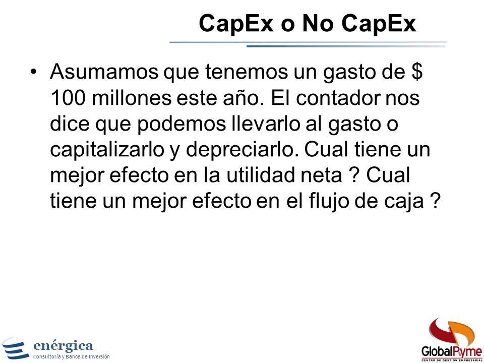 enérgica Consultoría y Banca de Inversión El efecto del CapEx El CapEx no es tratado como un gasto contable pero si afecta el flujo de caja. El CapEx
