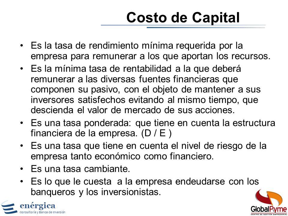 enérgica Consultoría y Banca de Inversión Gestión Basada en Valor Calculando el Costo de Capital