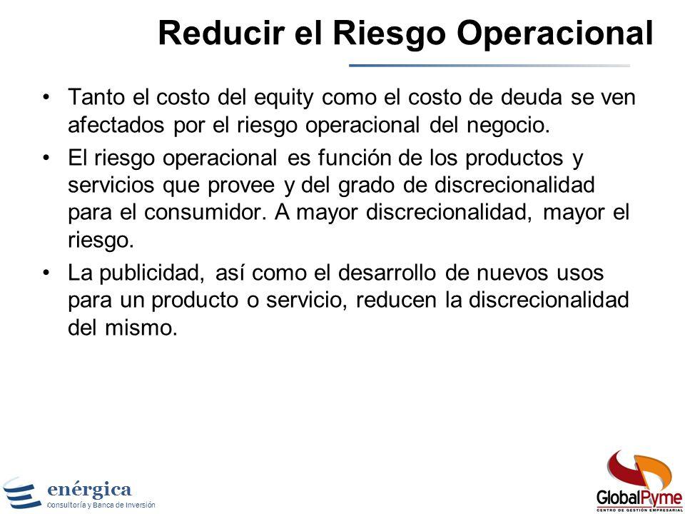enérgica Consultoría y Banca de Inversión Gestión Basada en Valor Disminuyendo el Costo de Capital