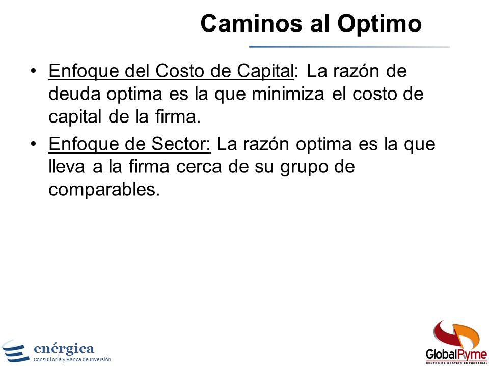 enérgica Consultoría y Banca de Inversión Cambiar la Mezcla Financiera Un tercer mecanismo para reducir el costo de capital es variar la mezcla de deu