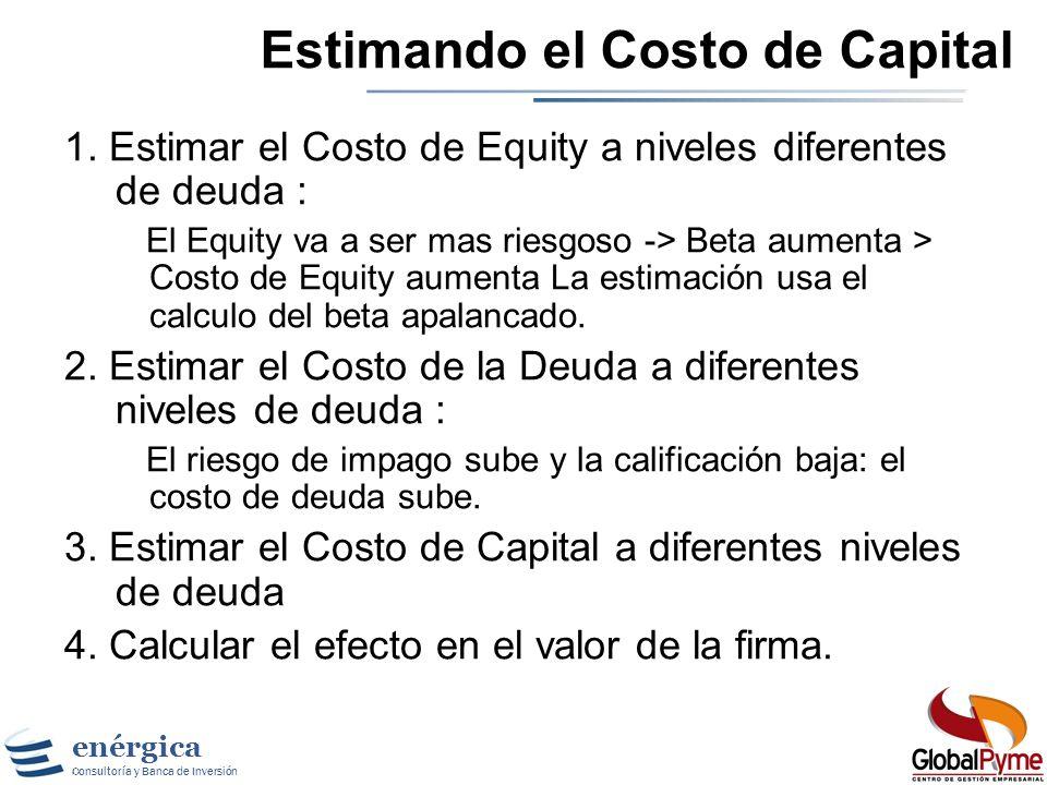 enérgica Consultoría y Banca de Inversión Enfoque del Costo de Capital Valor de la firma = Valor presente de los flujos de caja descontados al costo d