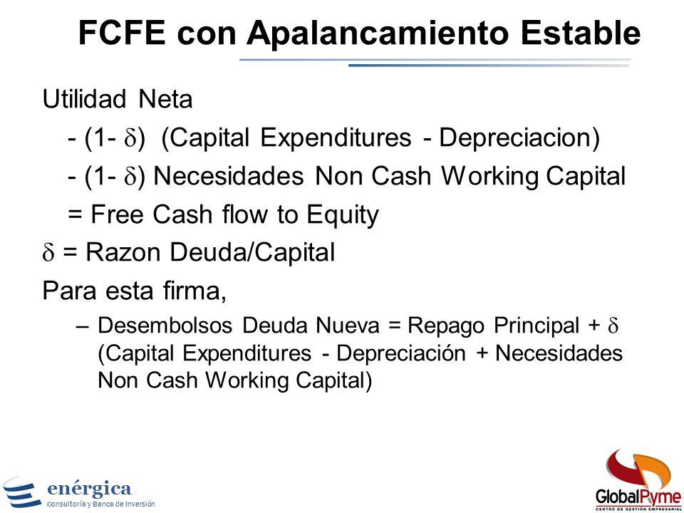 enérgica Consultoría y Banca de Inversión Midiendo el Máximo Pago: FCFE El Free Cashflow to Equity (FCFE) es una medida de cuanta caja queda en el neg