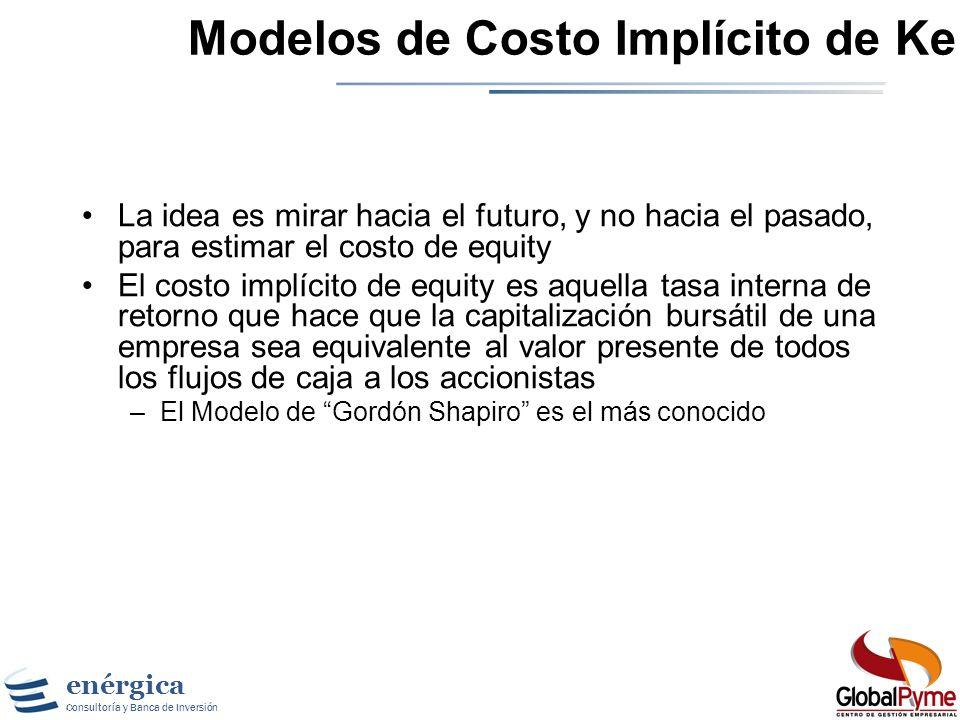 enérgica Consultoría y Banca de Inversión Costo de las Fuentes Internas Ke Pueden emplearse los siguientes métodos. Modelos de Costo Implícito de Capi