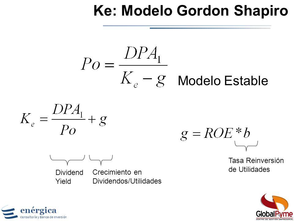 enérgica Consultoría y Banca de Inversión Modelos de Costo Implícito de Ke La idea es mirar hacia el futuro, y no hacia el pasado, para estimar el cos
