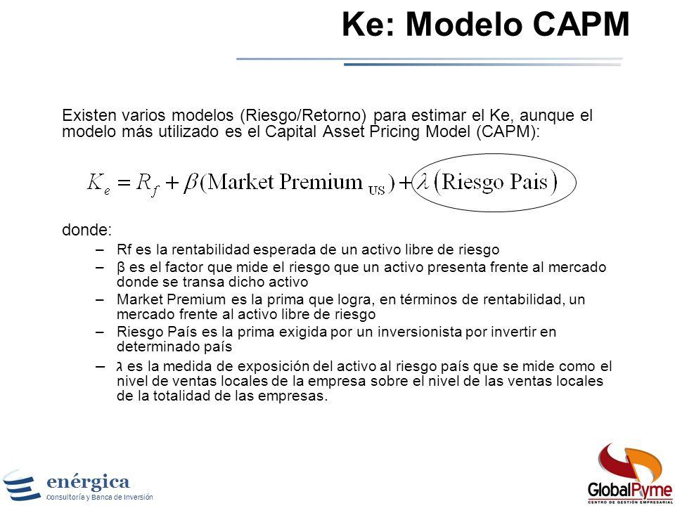 enérgica Consultoría y Banca de Inversión Capital Asset Pricing Model Usa la varianza de los retornos actuales frente a los esperados como una medida