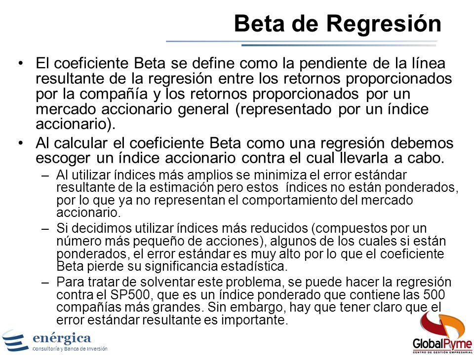 enérgica Consultoría y Banca de Inversión Estimando Betas El Beta es la manera de medir el riesgo no diversificable de un activo mediante la covarianz