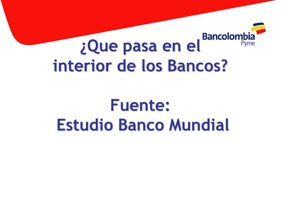 ¿Que pasa en el interior de los Bancos? Fuente: Estudio Banco Mundial
