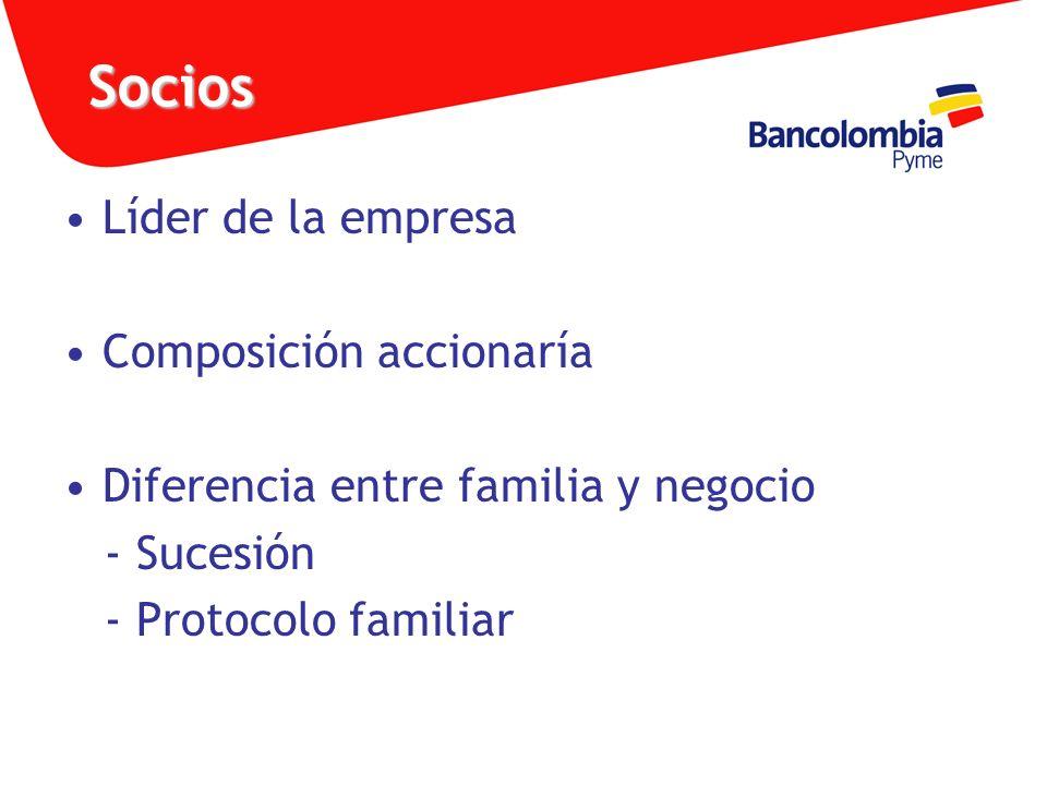 Socios Líder de la empresa Composición accionaría Diferencia entre familia y negocio - Sucesión - Protocolo familiar