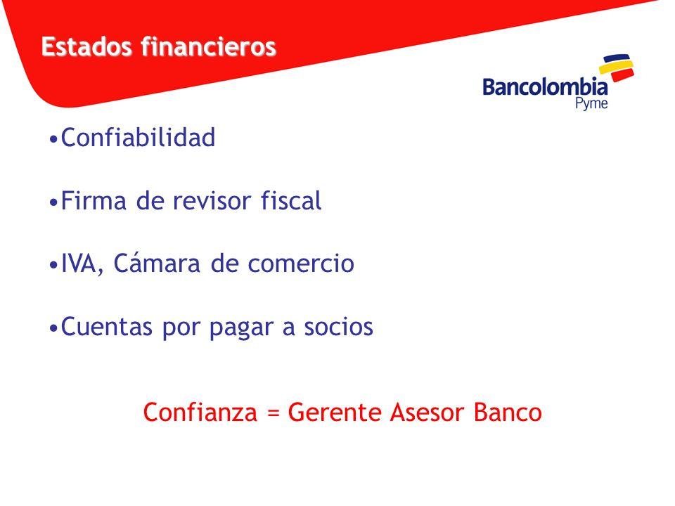 Estados financieros Confiabilidad Firma de revisor fiscal IVA, Cámara de comercio Cuentas por pagar a socios Confianza = Gerente Asesor Banco