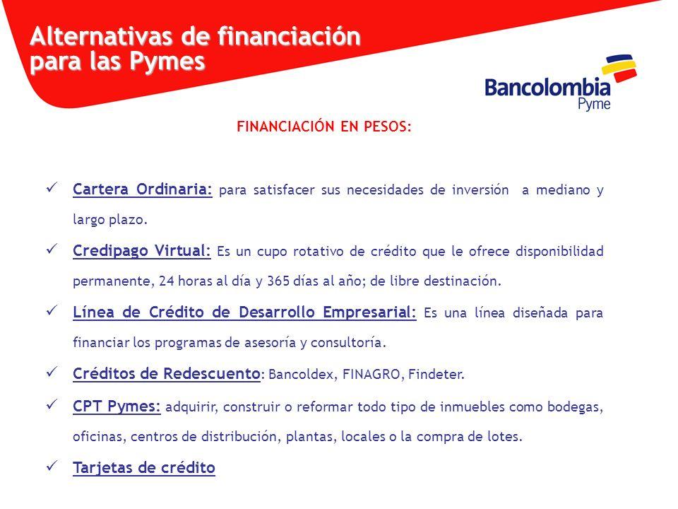 FINANCIACIÓN EN PESOS: Cartera Ordinaria: para satisfacer sus necesidades de inversión a mediano y largo plazo. Credipago Virtual: Es un cupo rotativo