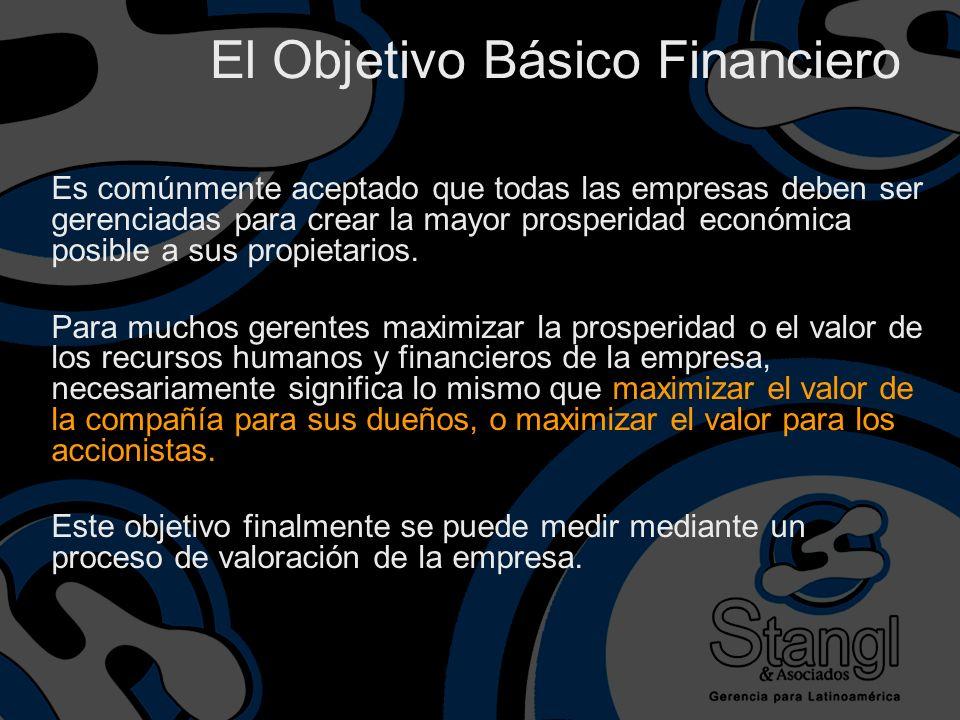 El Objetivo Básico Financiero Es comúnmente aceptado que todas las empresas deben ser gerenciadas para crear la mayor prosperidad económica posible a