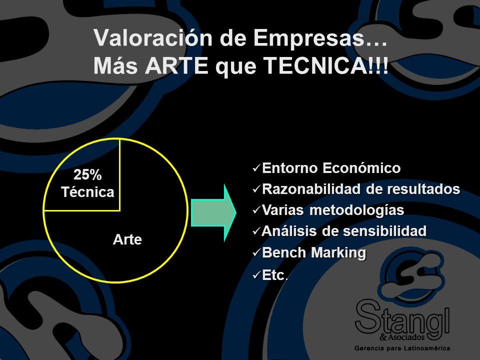 25% Técnica Arte Entorno Económico Entorno Económico Razonabilidad de resultados Razonabilidad de resultados Varias metodologías Varias metodologías A