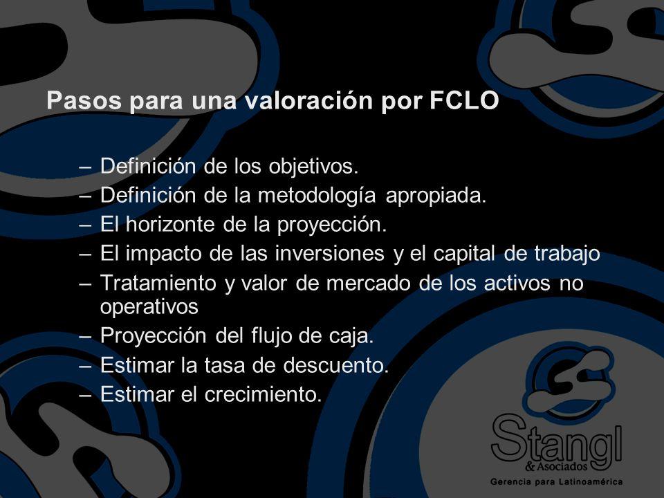 Pasos para una valoración por FCLO –Definición de los objetivos. –Definición de la metodología apropiada. –El horizonte de la proyección. –El impacto