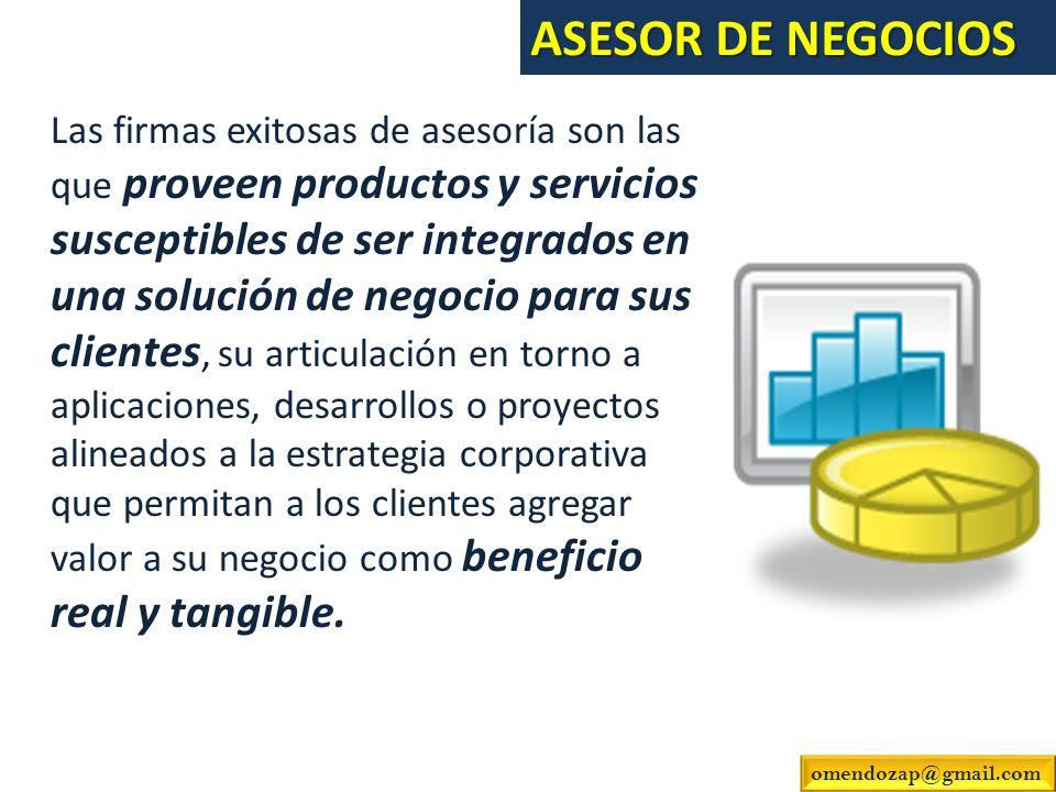 Las firmas exitosas de asesoría son las que proveen productos y servicios susceptibles de ser integrados en una solución de negocio para sus clientes,