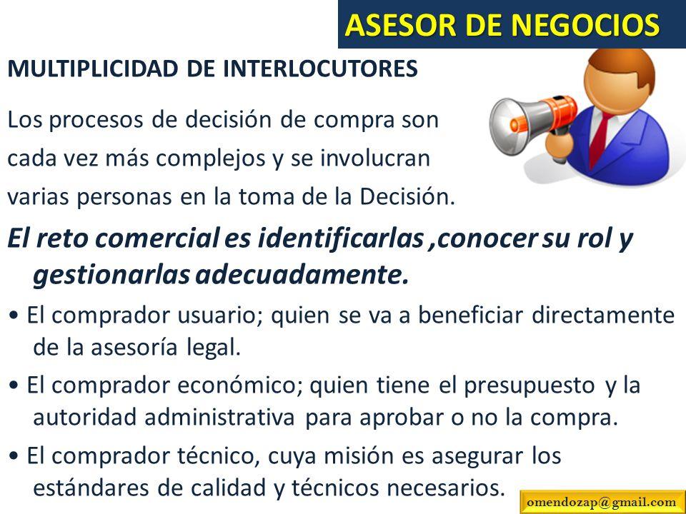 MULTIPLICIDAD DE INTERLOCUTORES Los procesos de decisión de compra son cada vez más complejos y se involucran varias personas en la toma de la Decisió