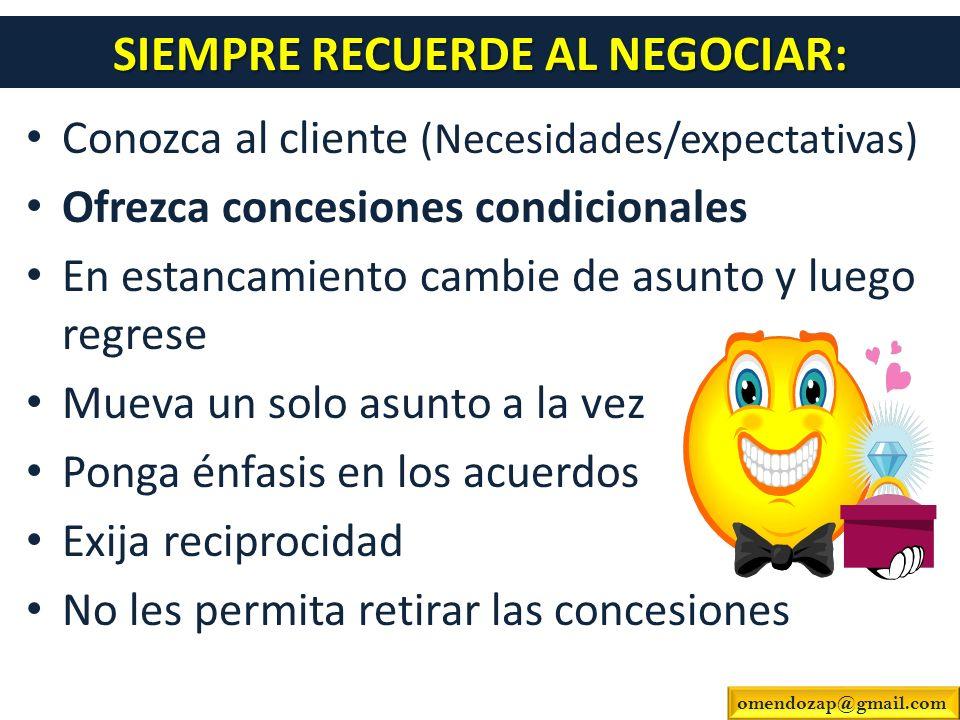 SIEMPRE RECUERDE AL NEGOCIAR: Conozca al cliente (Necesidades/expectativas) Ofrezca concesiones condicionales En estancamiento cambie de asunto y lueg