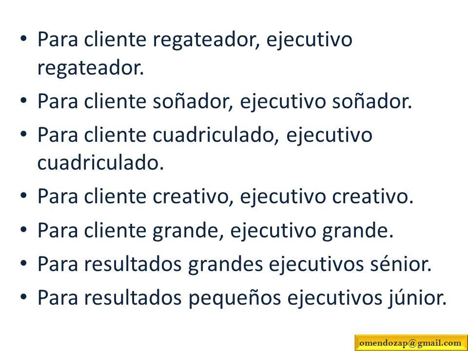 Para cliente regateador, ejecutivo regateador. Para cliente soñador, ejecutivo soñador. Para cliente cuadriculado, ejecutivo cuadriculado. Para client