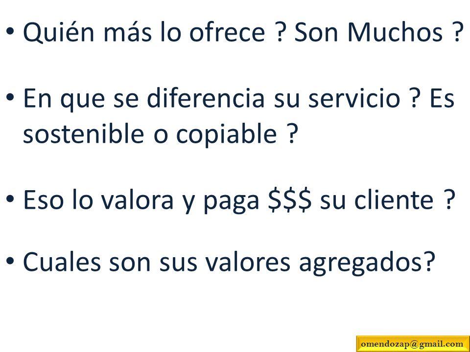 Quién más lo ofrece ? Son Muchos ? En que se diferencia su servicio ? Es sostenible o copiable ? Eso lo valora y paga $$$ su cliente ? Cuales son sus