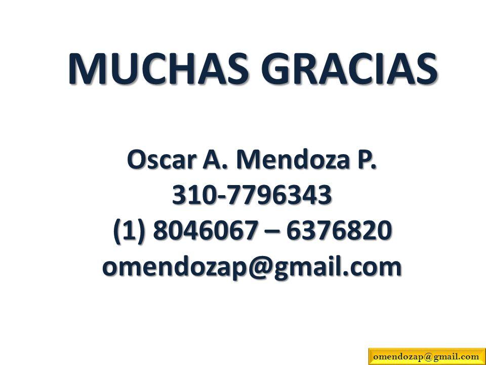 MUCHAS GRACIAS Oscar A. Mendoza P. 310-7796343 (1) 8046067 – 6376820 omendozap@gmail.com omendozap@gmail.com