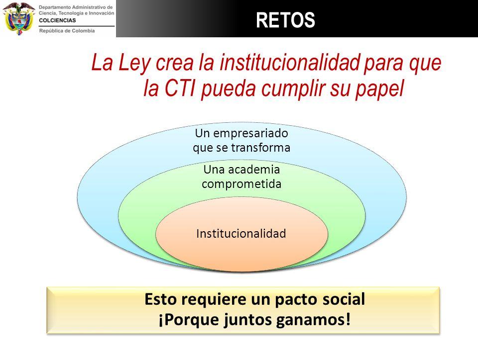 La Ley crea la institucionalidad para que la CTI pueda cumplir su papel Esto requiere un pacto social ¡Porque juntos ganamos! Esto requiere un pacto s