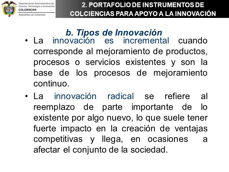 b. Tipos de Innovación La innovación es incremental cuando corresponde al mejoramiento de productos, procesos o servicios existentes y son la base de