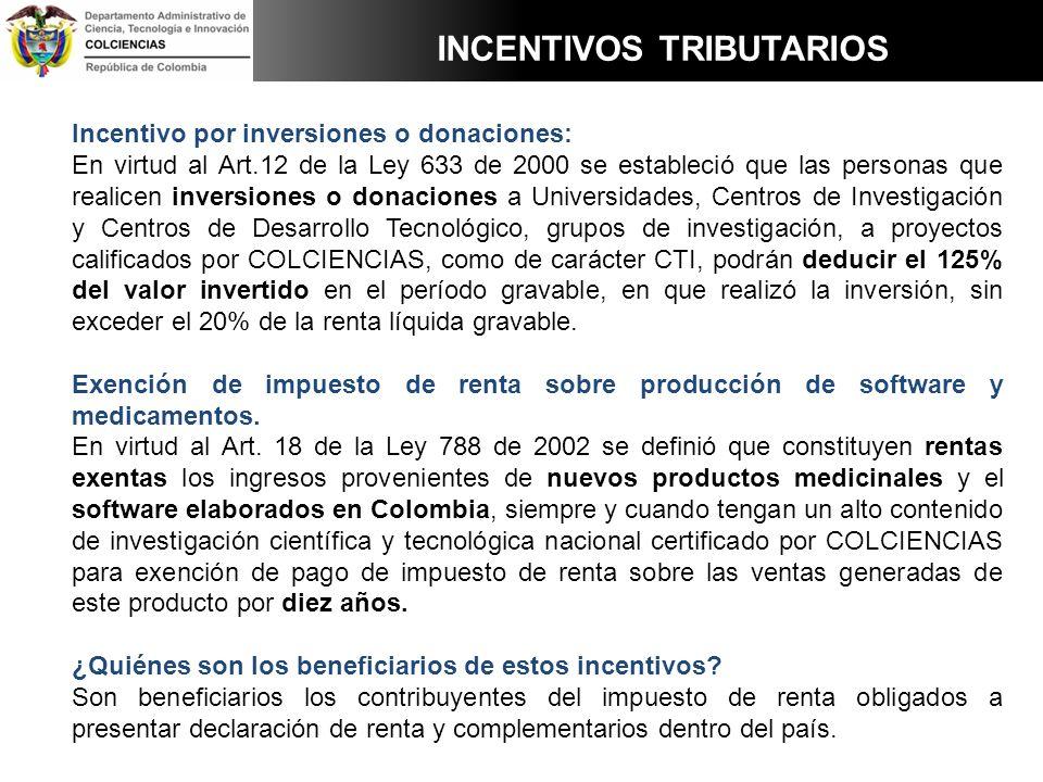 Incentivo por inversiones o donaciones: En virtud al Art.12 de la Ley 633 de 2000 se estableció que las personas que realicen inversiones o donaciones