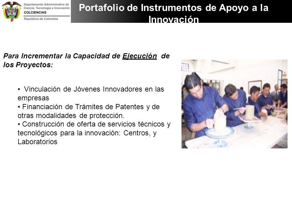 Para Incrementar la Capacidad de Ejecución de los Proyectos: Vinculación de Jóvenes Innovadores en las empresas Financiación de Trámites de Patentes y