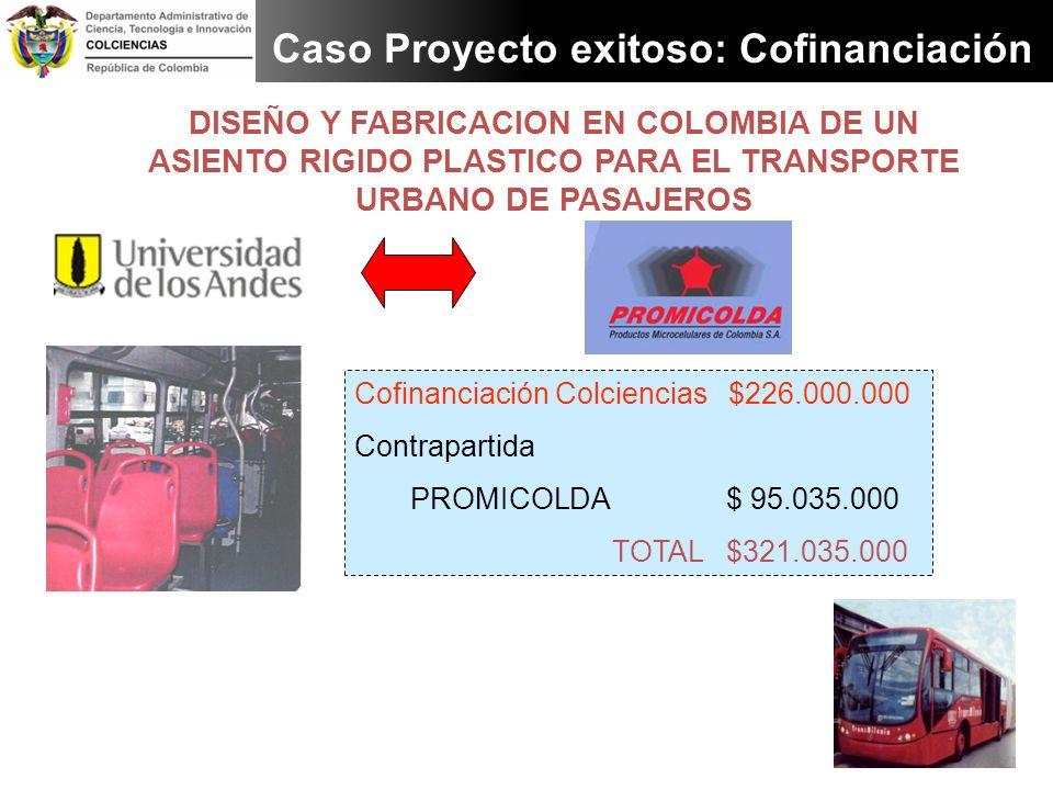 DISEÑO Y FABRICACION EN COLOMBIA DE UN ASIENTO RIGIDO PLASTICO PARA EL TRANSPORTE URBANO DE PASAJEROS Caso Proyecto exitoso: Cofinanciación Cofinancia