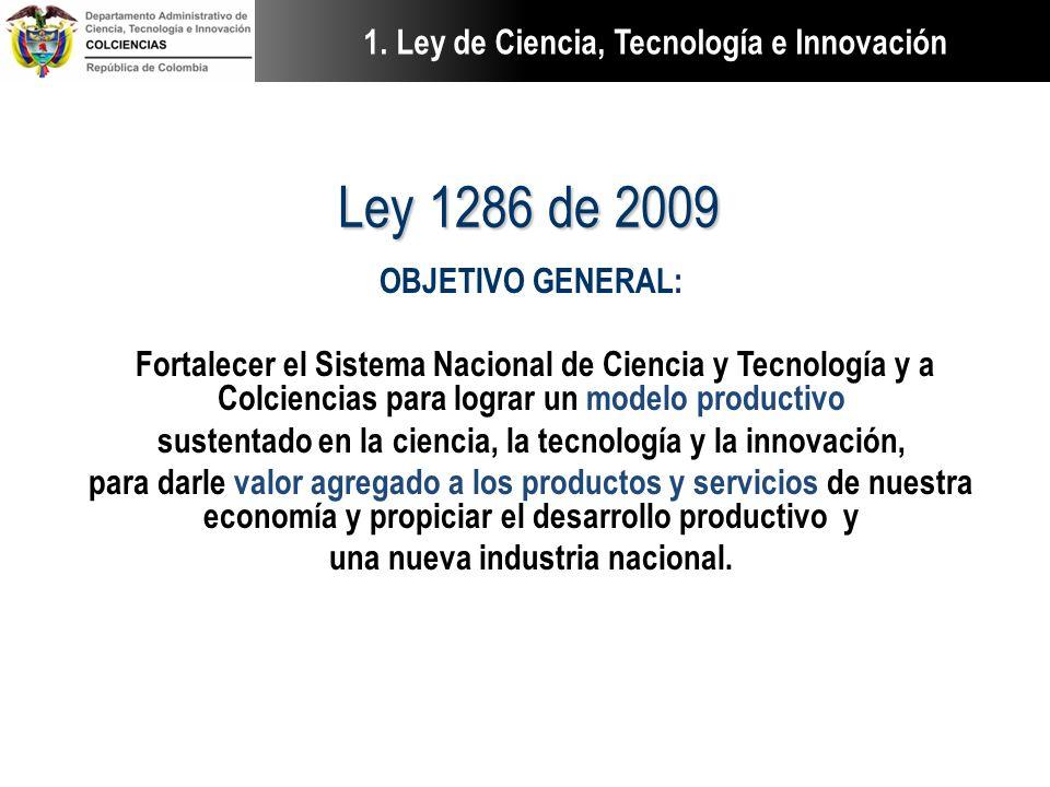 Ley 1286 de 2009 OBJETIVO GENERAL: Fortalecer el Sistema Nacional de Ciencia y Tecnología y a Colciencias para lograr un modelo productivo sustentado