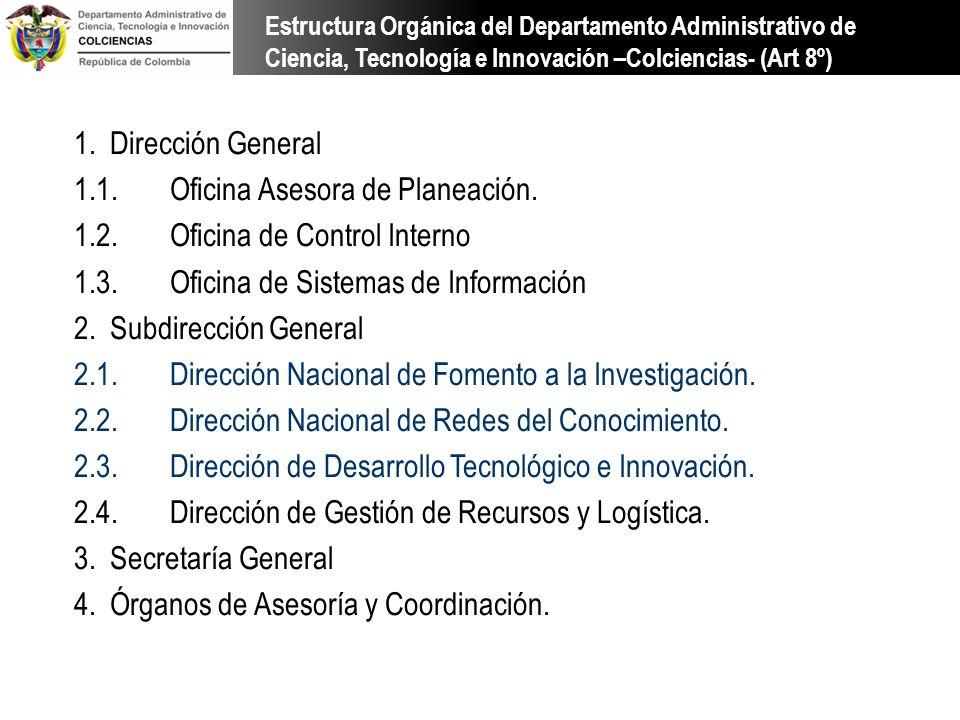 1.Dirección General 1.1.Oficina Asesora de Planeación. 1.2.Oficina de Control Interno 1.3.Oficina de Sistemas de Información 2.Subdirección General 2.