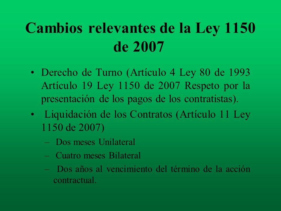 Cambios relevantes de la Ley 1150 de 2007 Derecho de Turno (Artículo 4 Ley 80 de 1993 Artículo 19 Ley 1150 de 2007 Respeto por la presentación de los