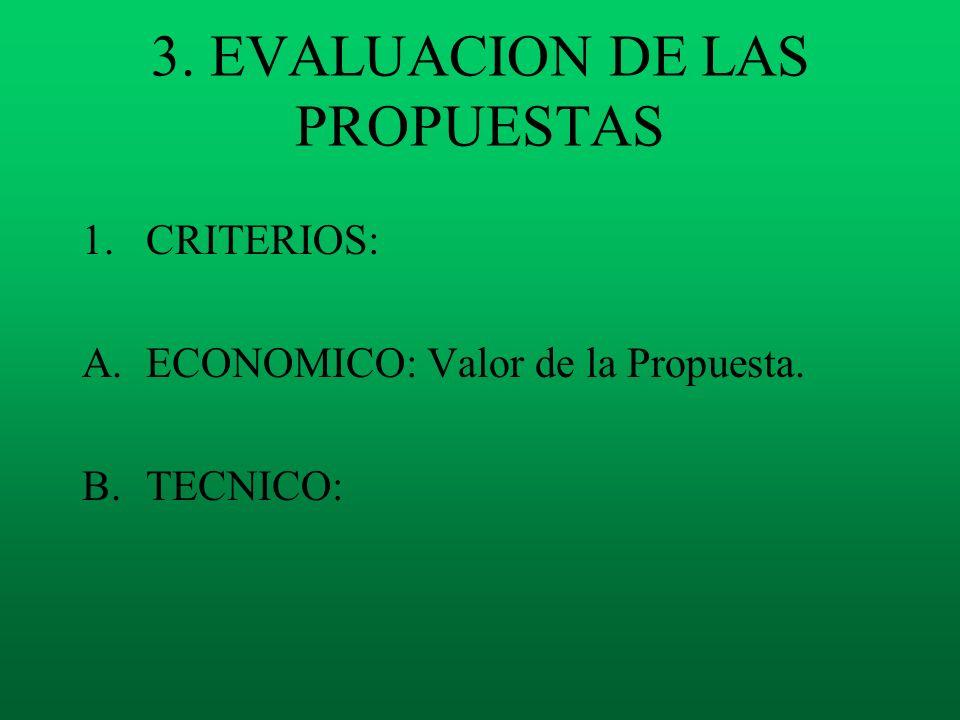 3. EVALUACION DE LAS PROPUESTAS 1.CRITERIOS: A.ECONOMICO: Valor de la Propuesta. B.TECNICO: