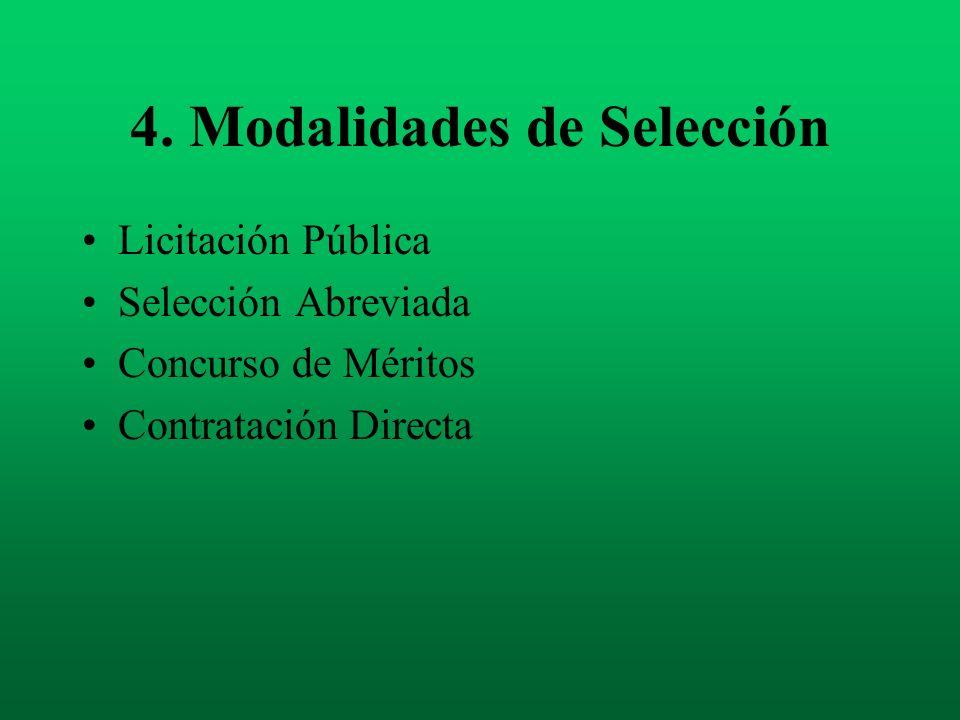 4. Modalidades de Selección Licitación Pública Selección Abreviada Concurso de Méritos Contratación Directa
