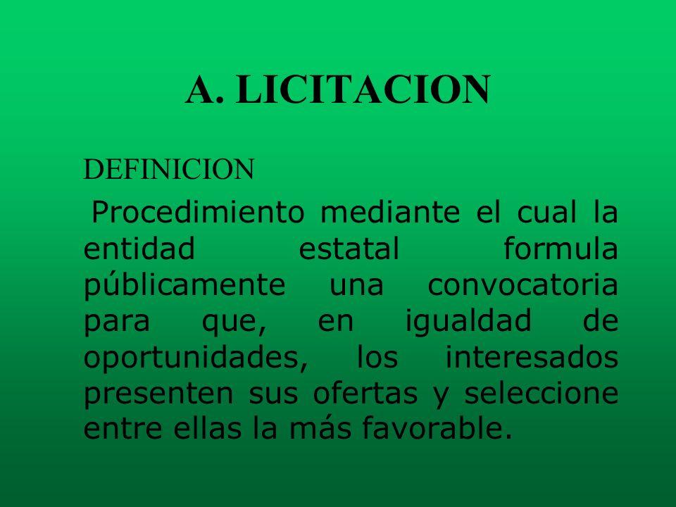 A. LICITACION DEFINICION Procedimiento mediante el cual la entidad estatal formula públicamente una convocatoria para que, en igualdad de oportunidade