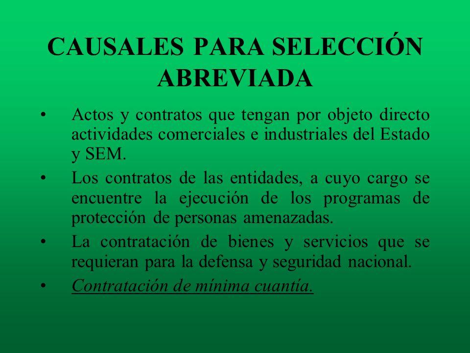 CAUSALES PARA SELECCIÓN ABREVIADA Actos y contratos que tengan por objeto directo actividades comerciales e industriales del Estado y SEM. Los contrat