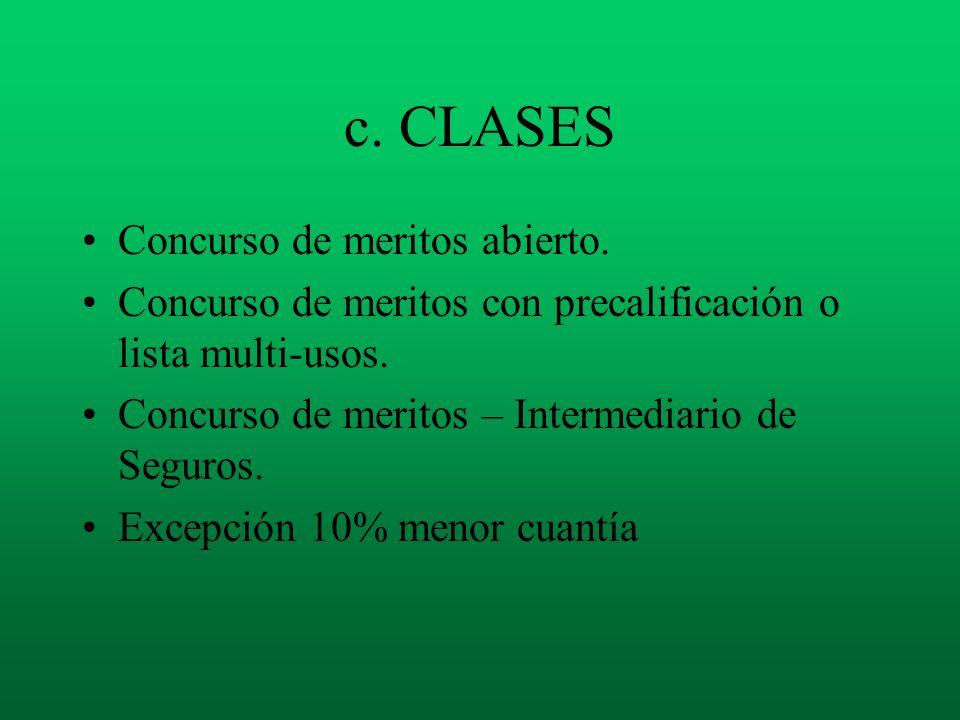c. CLASES Concurso de meritos abierto. Concurso de meritos con precalificación o lista multi-usos. Concurso de meritos – Intermediario de Seguros. Exc