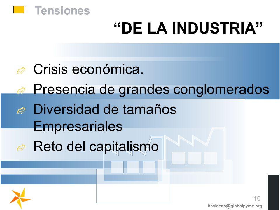Tensiones DE LA INDUSTRIA Crisis económica. Presencia de grandes conglomerados Diversidad de tamaños Empresariales Reto del capitalismo hcaicedo@globa